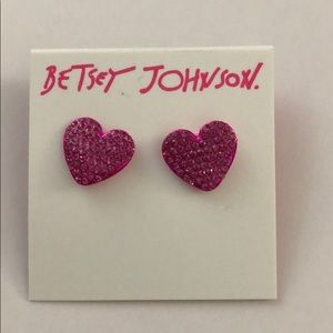 Betsey Johnson Hot Pink Pave Heart 💕Earrings